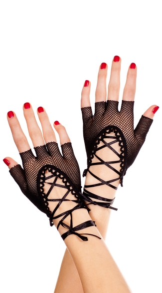 Lace Up Gloves, Fingerless Mini Gloves