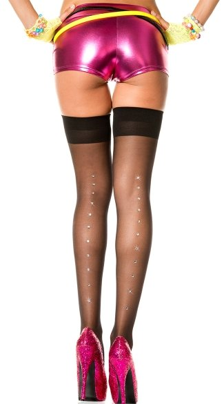 Sheer Thigh High with Rhinestones - Black