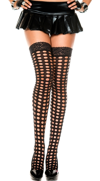 Pothole Thigh Highs with Lace Top, Thigh High Fishnet, Black Thigh High Fishnets