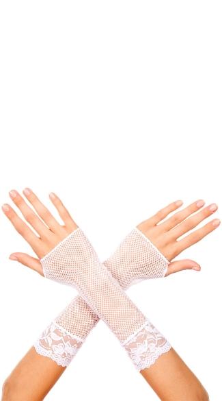 White Fishnet Mini Gloves - White