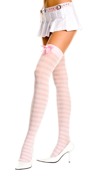 Opaque Striped Thigh High with Bow - Baby Pink
