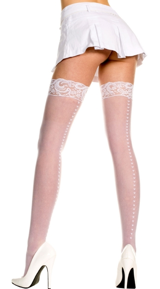 Sheer Thigh High with Heart Backseam - White