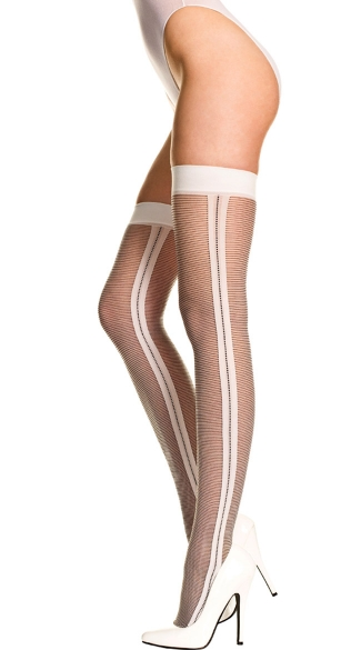 Sheer Thin Striped Thigh High with Side Seam, Black and White Striped Thigh High, Side Seam Thigh Highs