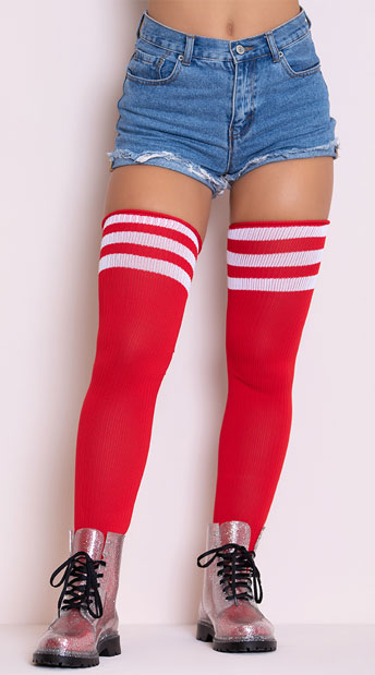 Athletic Striped Thigh Highs - Red/White