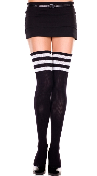 Athletic Striped Thigh Highs, Striped Thigh High Socks, Black and White Striped Stockings