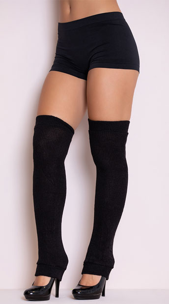 Thigh High Leg Warmers - Black