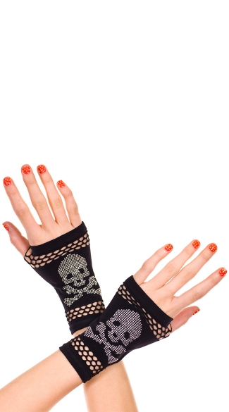 Skull Print Gloves, Halloween Costume Gloves