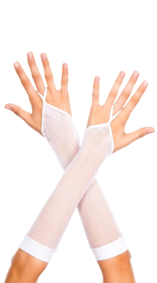 One Finger Fishnet Gloves - White