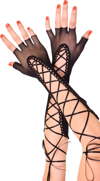 Lace Up Elbow Length Gloves, Lace Up Costume Gloves