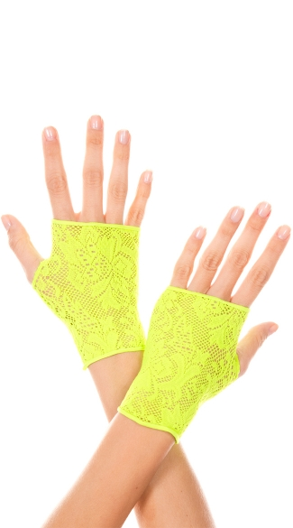 Neon Green Lace Gloves, Rave Gloves, Neon Fingerless Gloves