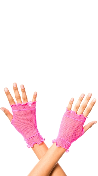 Flounce Fishnet Gloves, Rave Gloves, Neon Fingerless Gloves