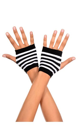 Striped Fingerless Gloves - Black/White