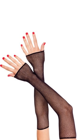 Extra Long Fingerless Gloves - Black
