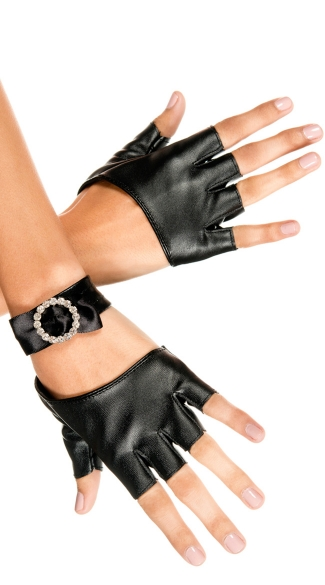 Oval Cut Out Gloves, Black Fingerless Gloves, Fingerless Costume Gloves