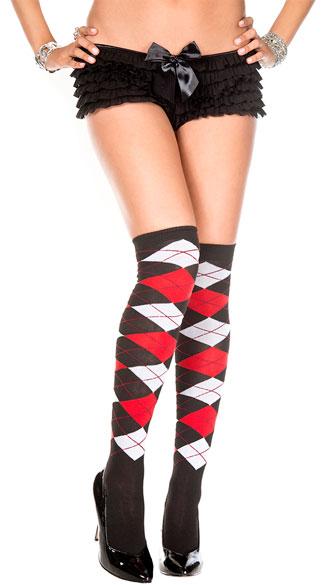Sheer Argyle Thigh High Socks - Black/Red