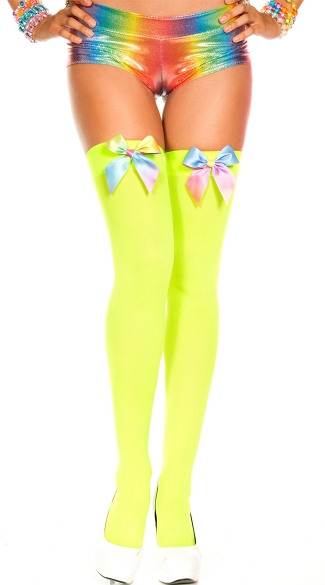 Rainbow Bow Stockings - Neon Green