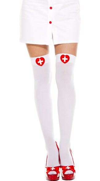 Heart Cross Thigh High Stockings, White Nurse Thigh Highs Stockings, Cross Thigh High Stockings