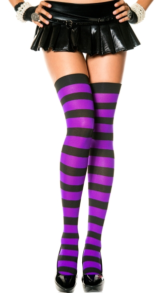 Wide Striped Thigh Highs - Black/Purple