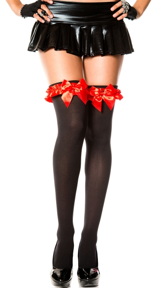 Thigh High with Satin Ruffle and Bow - Black/Red