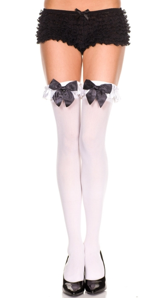 Thigh High with Satin Ruffle and Bow, Opaque Thigh High with Bow, Opaque Thigh High with Trim