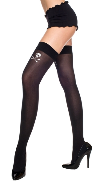 Opaque Thigh High with Crossbone - Black