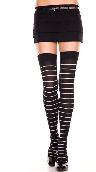 Opaque Fine Striped Thigh Highs - Black/White