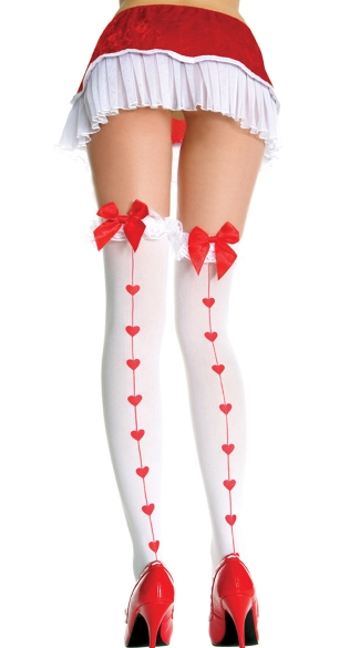 Ruffle Top Thigh High with Hearts Backseam, Opaque Thigh Highs with Heart Print and Bow and Ruffle Trim, Heart Print Thigh Highs