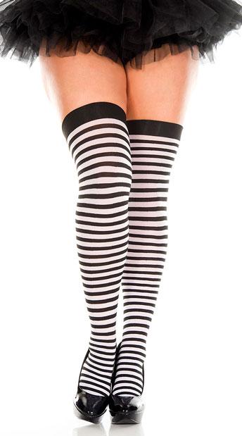 Plus Size Striped Thigh Highs - Black/White