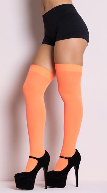 Opaque Thigh Highs - Neon Orange