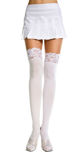 Plus Size Opaque Thigh Highs with Lace Top - White