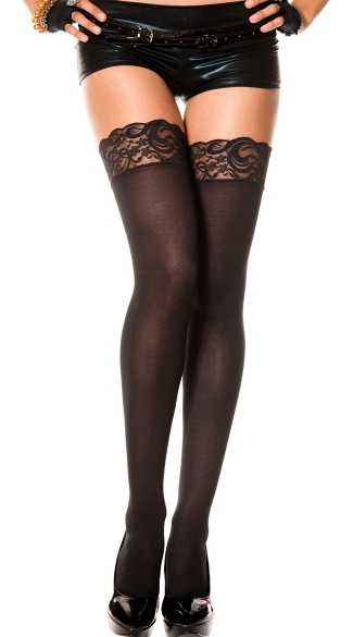 Opaque Thigh Highs with Lace Top, lace top thigh highs - Yandy.com