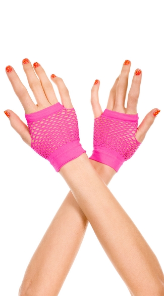 Fingerless Net Gloves - Hot Pink