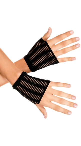 Slashed Fingerless Gloves, Slashed Gloves, Cut Out Gloves