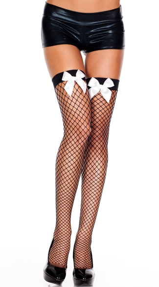 Diamond Net Thigh Highs with Front Bow - Black/White
