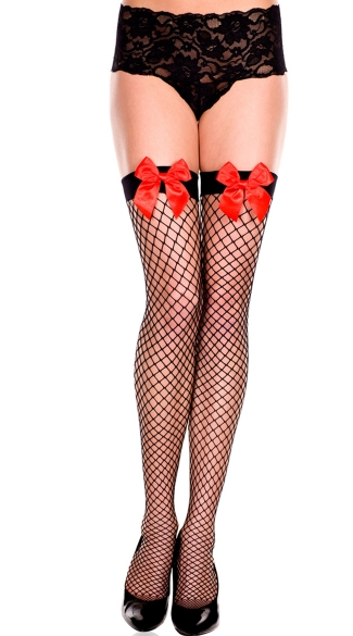 Diamond Net Thigh Highs with Front Bow - Black/Red