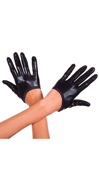 Cropped Wet Look Gloves, Cropped Gloves, Wet Look Gloves - Yandy.com