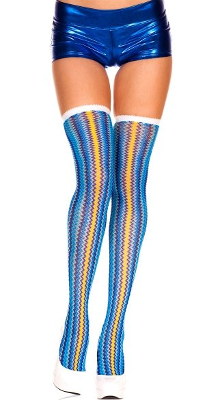 Colorful Zig Zag Stockings - Blue