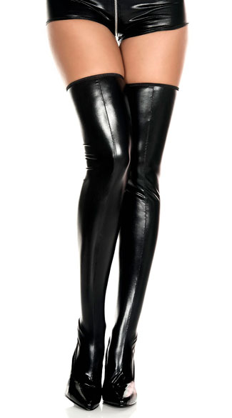 Wet Look Zipper Thigh Highs - Black