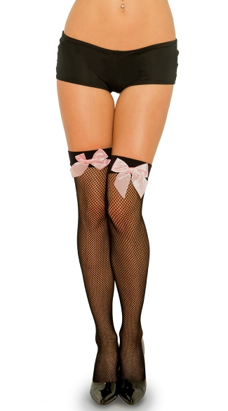 Fishnet Thigh with Satin Bow - Black/Hot Pink