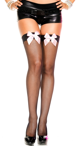Fishnet Thigh with Satin Bow - Black/Baby Pink