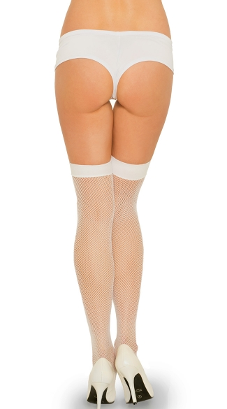 Fishnet Thigh with Satin Bow - White/Baby Blue