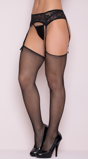 Basic Unfinished Fishnet Thigh High Stockings - Black