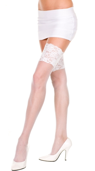 Plus Size Fishnet Thigh Highs with Wide Lace Top - White