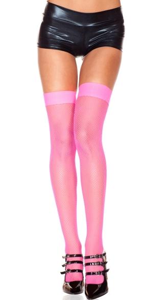 Fishnet Thigh Highs - Hot Pink