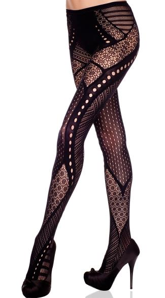 Multi Pattern Tights - Black