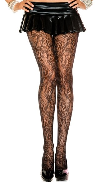 Seamless Floral Lace Pantyhose - Black