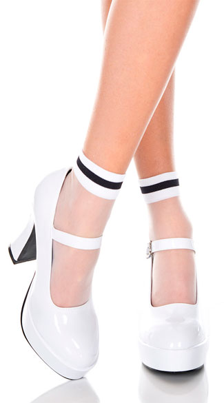 Sheer Striped Ankle Socks, Sheer Ankle Socks, Anklet Socks