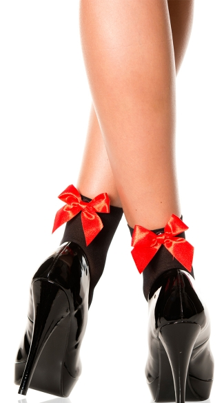 Opaque Anklet with Bow - Black/Red