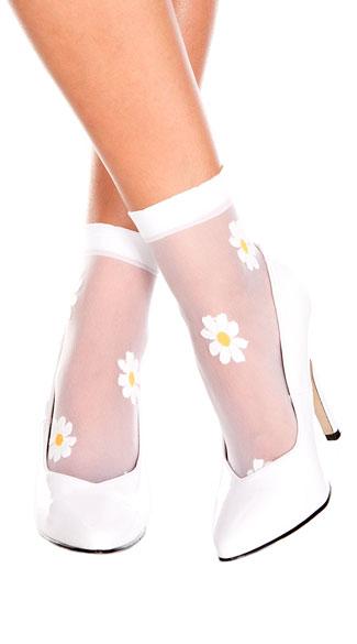 99e881572 Sheer Flower Ankle Socks - White Yellow