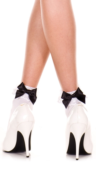 Opaque Anklet with Lace and Bow, Opaque Ankle Hi With Lace Trim And Bow, School Girl Socks